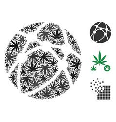 Globe network collage of hemp leaves vector