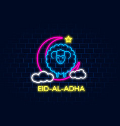 greeting card neon design with cute baby sheep vector image
