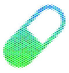 Halftone blue-green medication granule icon vector