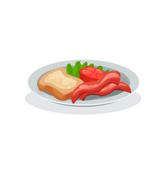 Ham tomato bread and butter on a plate vector