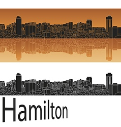 Hamilton skyline in orange vector