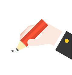 Hand hold broken pencil flat design vector