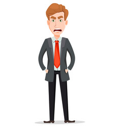 Handsome businessman in suit with angry face and vector