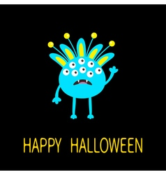 Happy Halloween greeting card Blue monster with vector
