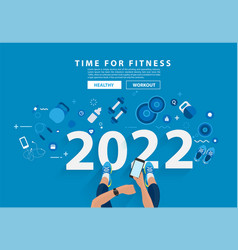 Happy new year 2022 time for fitness in gym vector