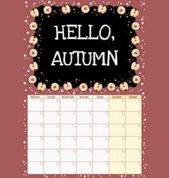 Hello autumn chalkboard monthly calendar with cut vector