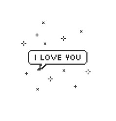 I love you in speech bubble 8-bit pixel art vector