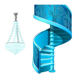 Ice spiral staircase and crystal chandelier vector