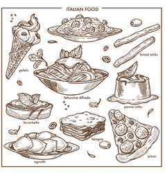 Italian cusine sketch dishes pizza pasta meat vector
