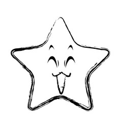 kawaii star funny character emoticon image vector image
