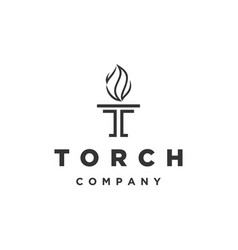 letter initial t for torch logo design vector image