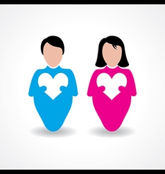 Male and female icon with love sign stock vector image
