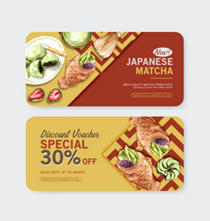Matcha sweet voucher design with taiyaki donut vector