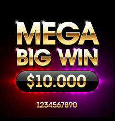 Mega big win banner for lottery or casino games vector