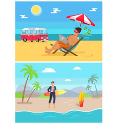 Men with work as freelancers on sandy beaches set vector