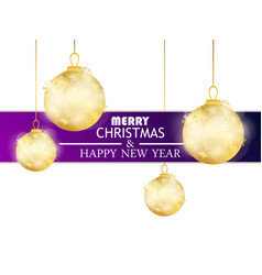 merry christmas and happy new year hanging golden vector image