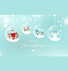 Merry christmas santa claus and kid with gift vector
