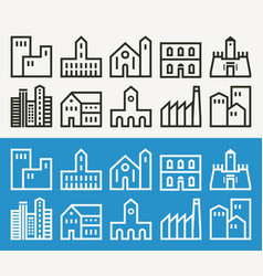 Minimal buildings related outline icons vector