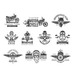 motorcycle labels biker badges with speed symbols vector image