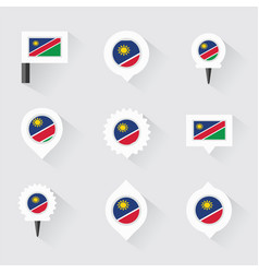 namibia flag and pins for infographic and map vector image