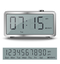 Old style liquid-crystal alarm clock vector
