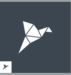 origami bird thin line icon vector image