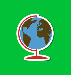 paper sticker on stylish background globe vector image