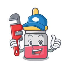 Plumber nassal drop mascot cartoon vector