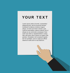 Pointing hand with template document vector
