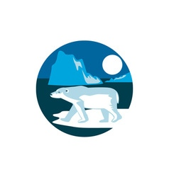 Polar Bear Iceberg Circle Retro vector image
