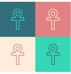 Pop art line cross ankh icon isolated on color vector