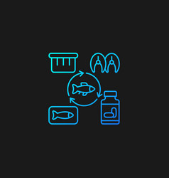 Producing fish products gradient icon for dark vector