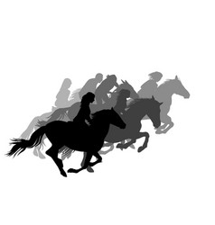 Riders on horses galloping on horse racing vector