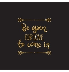 Romantic lettering with glitter Golden sparkles vector image