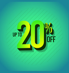 Sale discount up to 20 off set template design vector