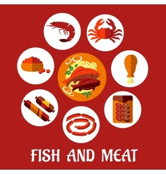 Seafood and mat flat icons vector