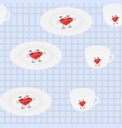 Seamless pattern tableware for print on fabric vector