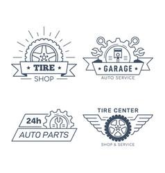 Set car service and repair badge design vector