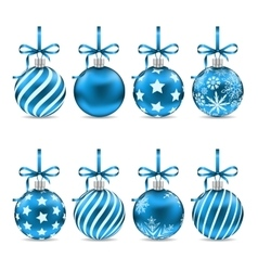 Set Christmas Blue Shiny Balls with Bow Ribbons vector image