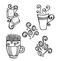 Set of Decorative Cups of Coffee vector image