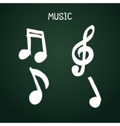 Set of doodle music notes on chalkboard for design vector image