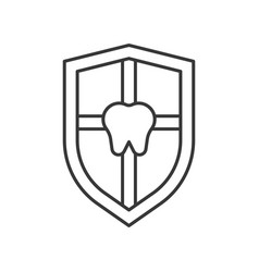 Shield and tooth teeth protection outline icon vector
