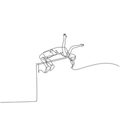 single continuous line drawing young sportive vector image