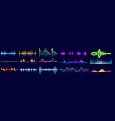 sound wave set isolated flat audio sound waves vector image