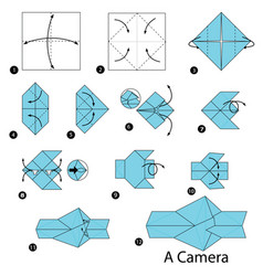Step instructions how to make origami a camera vector