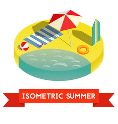 summer isometric icon ilustratuon vector image