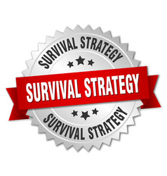 Survival strategy round isolated silver badge vector