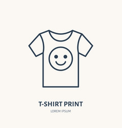 T-shirt flat line icon branding clothes sign vector