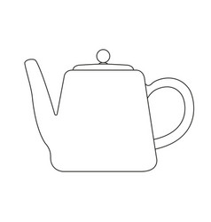 Teapot black linear art isolated vector