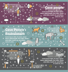 Thin line cave people banner template set vector